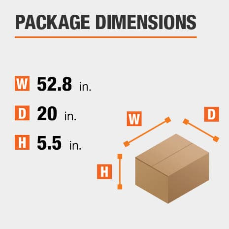 Shipment package is 52.8 inches wide, 20 inches deep, and 5.5 inches high
