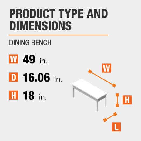 Dining Bench is 49 inches wide, 16.06 inches deep, and 18 inches high