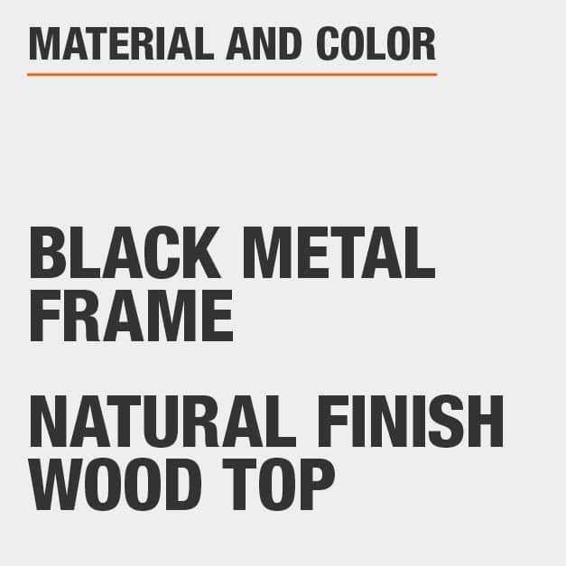 Natural Finish Wood Top Black Metal Frame Rectangular Dining Table