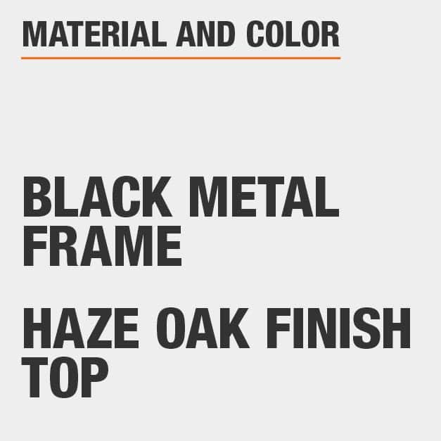 Haze Oak Finish Top Black Metal Frame Rectangular Dining Table