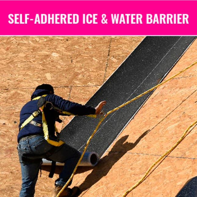 Man installing ice and water barrier