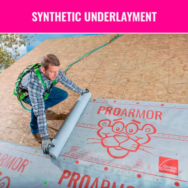 Image of man rolling our Owens Corning ProArmor Synthetic Underlayment
