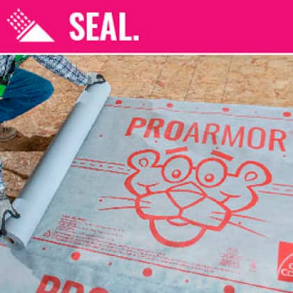 Close up of Owens Corning ProArmor Synthetic Underlayment
