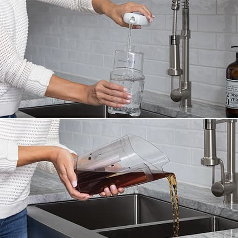 Female pouring solution in clean water tank and emptying