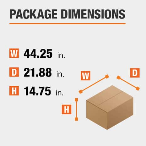 Shipment package is 44.25 inches wide, 21.88 inches deep, and 14.75 inches high