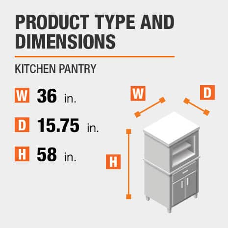 Kitchen Pantry is 36 inches wide, 15.75 inches deep, and 58 inches high