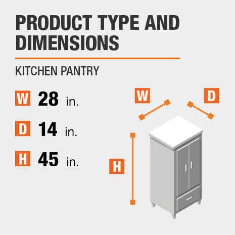 Kitchen Pantry is 28 inches wide, 14 inches deep, and 45 inches high