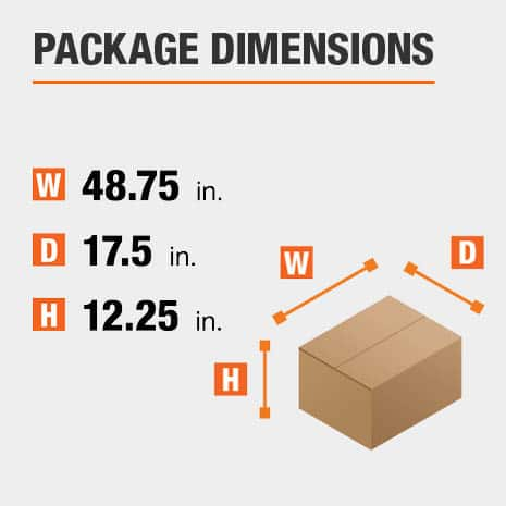Shipment package is 48.75 inches wide, 17.5 inches deep, and 12.25 inches high