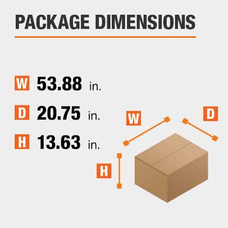 Shipment package is 53.88 inches wide, 20.75 inches deep, and 13.63 inches high