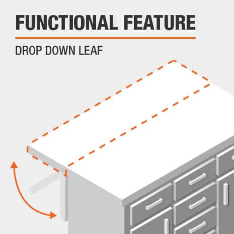 A functional feature of this Kitchen Island is a Drop Down Leaf