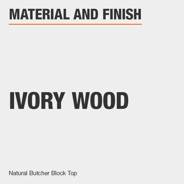Kitchen Island is made of Ivory Wood includes a Natural Butcher Block Top