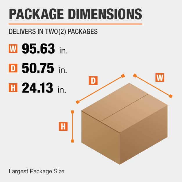 Shipment comes in two boxes. The largest package is 95.63 inches wide, 50.75 inches deep, and 24.13 inches high