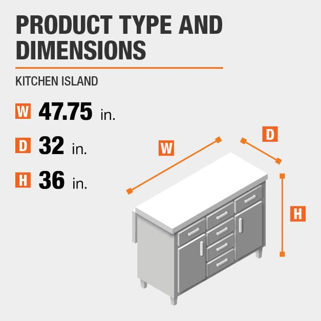 Kitchen Island is 47.75 inches wide, 32 inches deep, and 36 inches high