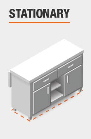 This Kitchen Island is stationary