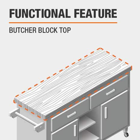 A functional feature of this Kitchen Cart is a Butcher Block Top
