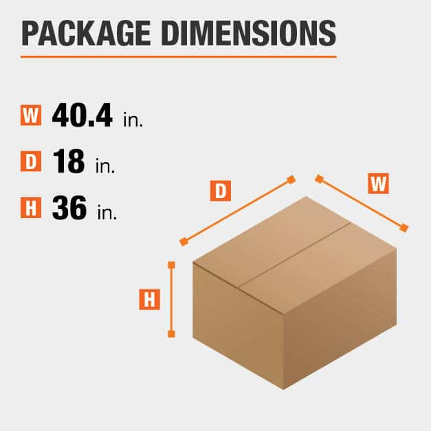 Shipment package is 40.4 inches wide, 18 inches deep, and 36 inches high