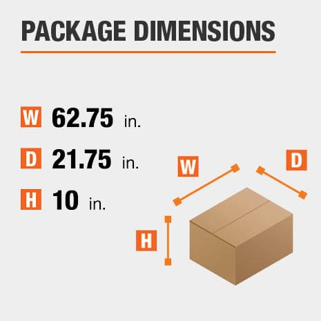 Shipment package is 62.75 inches wide, 21.75 inches deep, and 10 inches high