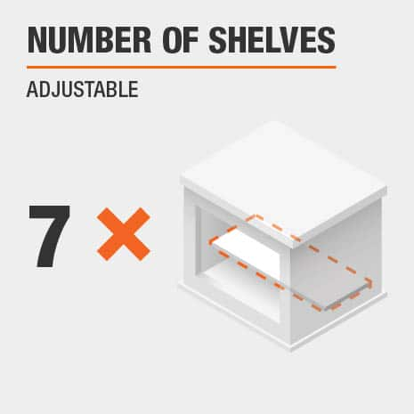 Buffet Table includes seven adjustable shelves