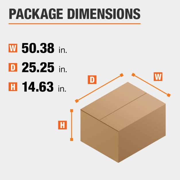 Shipment package is 50.38 inches wide, 25.25 inches deep, and 14.63 inches high