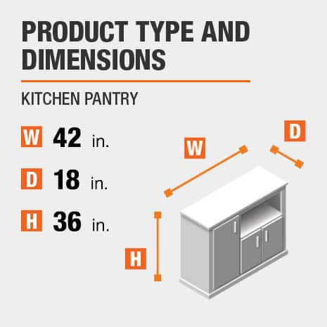 Kitchen Pantry is 42 inches wide, 18 inches deep, and 36 inches high