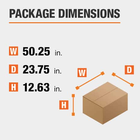 Shipment package is 50.25 inches wide, 23.75 inches deep, and 12.63 inches high