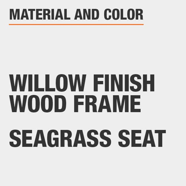 Seagrass Seat Willow Finish Wood Frame Dining Chair Set