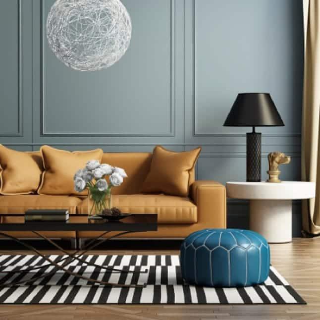 Egghsell Light Gray Blue Paint In Living Room