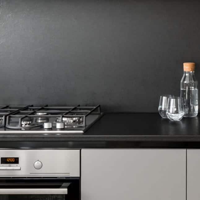 Dark Gray Semi Gloss Paint In Kitchen