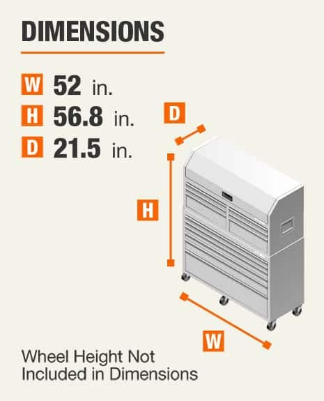 Dimensions 52 inches wide, 56.8 inches high, 21.5 inches deep. Wheel height not included In dimensions.