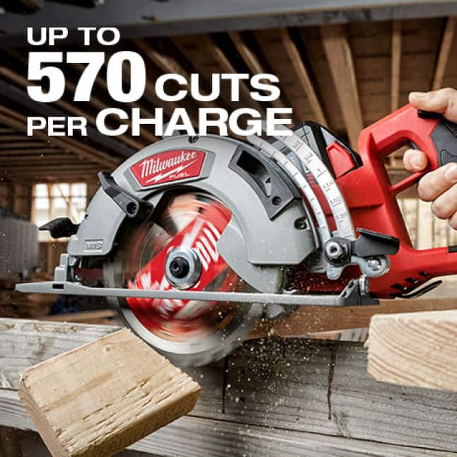 Up to 570 cuts per charge in 2x4's