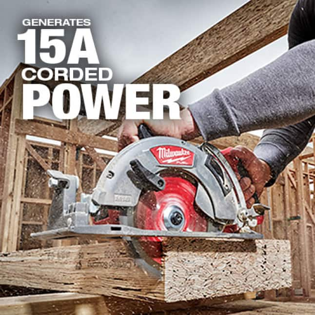 Generates the same power as a corded circular saw