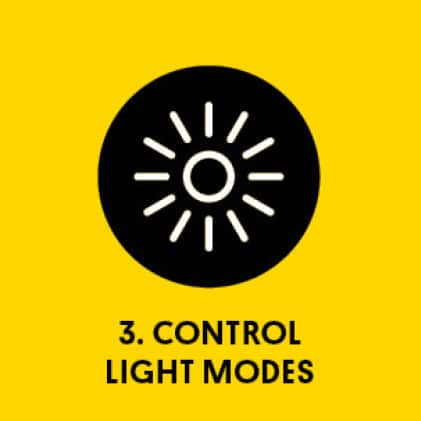 Graphic of light-burst with title: 3. Control Light Modes