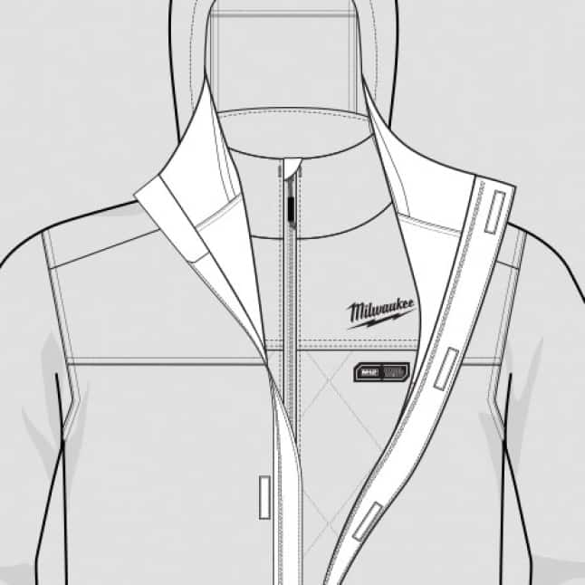 Pass-thru access to heat control when layered with M12 Heated AXIS Jackets