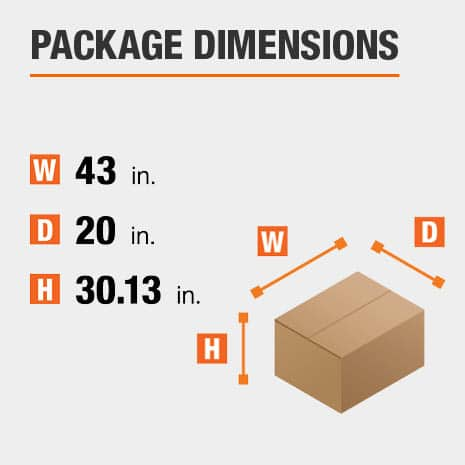 Shipment package is 43 inches wide, 20 inches deep, and 30.13 inches high