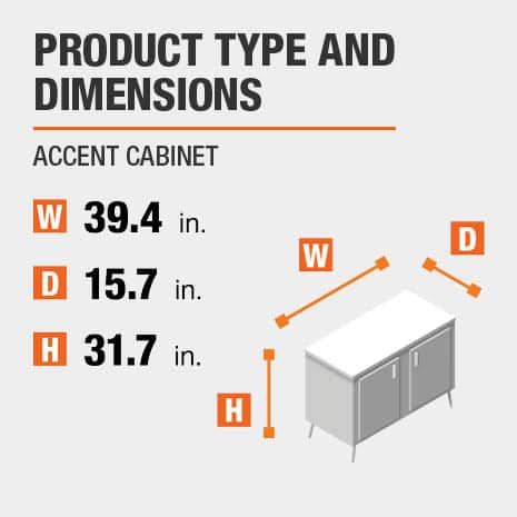 Accent Cabinet is 39.4 inches wide, 15.7 inches deep, and 31.7 inches high