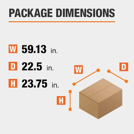 Shipment package is 59.13 inches wide, 22.5 inches deep, and 23.75 inches high