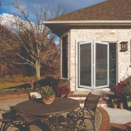 Exterior of folding patio door with outdoor scene