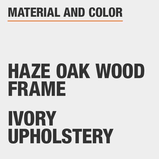 Ivory Upholstery Haze Oak Wood Frame Upholstered Dining Chair Set