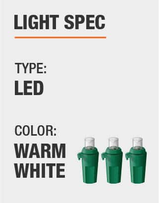 The light type is LED and Warm White
