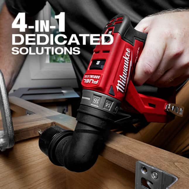 "4 interchangeable solutions provide maximum versatility.¼""Hex,3/8"" Chuck and Offset can attach the right angle for additional drilling/fastening needs"