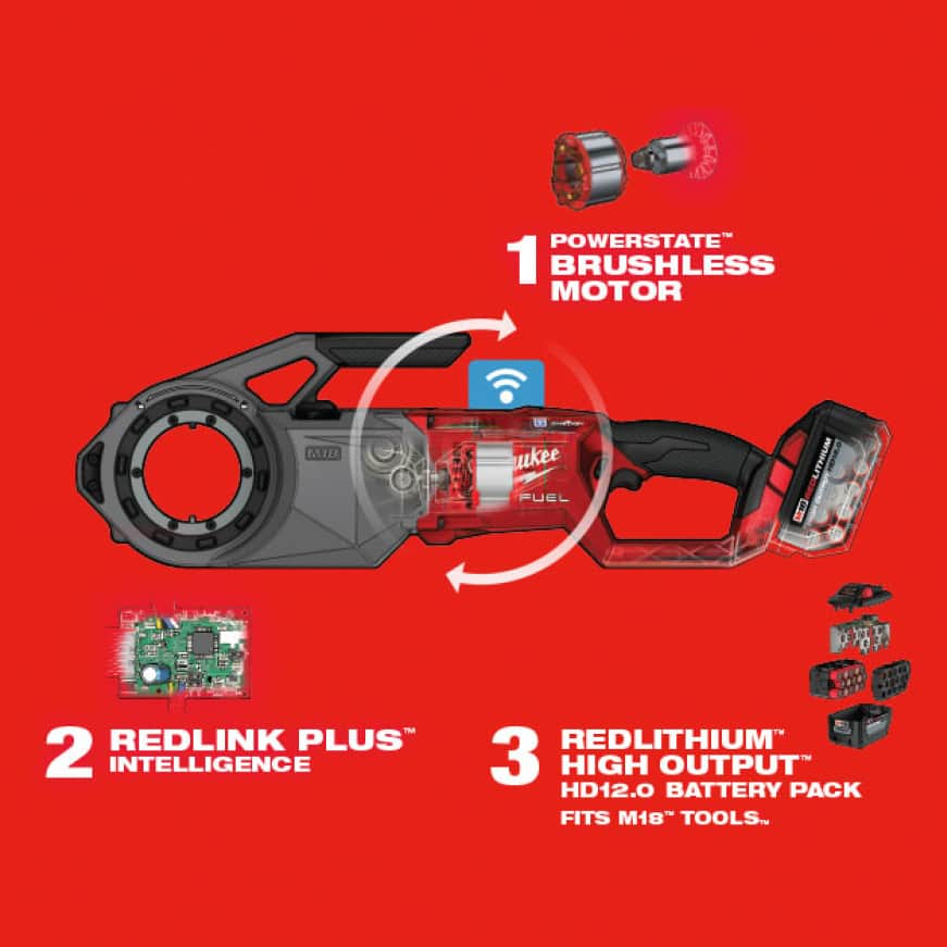 Features three Milwaukee-exclusive technologies – POWERSTATE Brushless motor, REDLINK PLUS Intelligence and REDLITHIUM Batteries