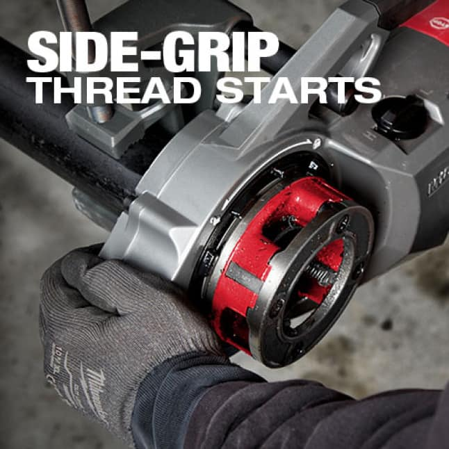 Side-Grip allows for no engagement with the spinning die head before or during the threading process