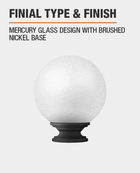 Brushed Nickel Mercury Glass Sphere Curtain Rod Finial