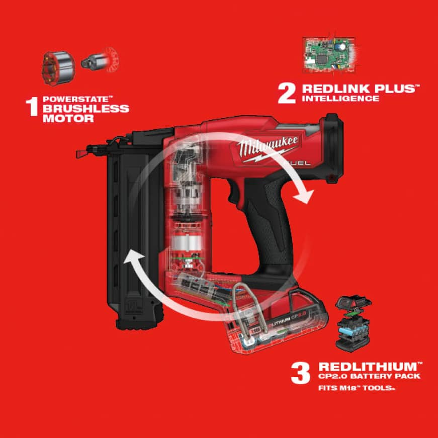 Features three Milwaukee-exclusive technologies: POWERSTATE Brushless motor, REDLINK PLUS Intelligence and REDLITHIUM Batteries