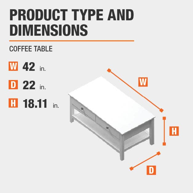 Coffee Table Product Dimensions 42 inches wide 18.11 inches high