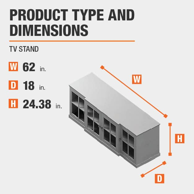 TV Stand  Product Dimensions 62 inches wide 24.38 inches high