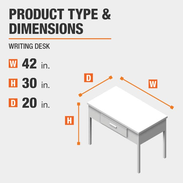 Writing Desk Product Dimensions 42 inches wide 30 inches high
