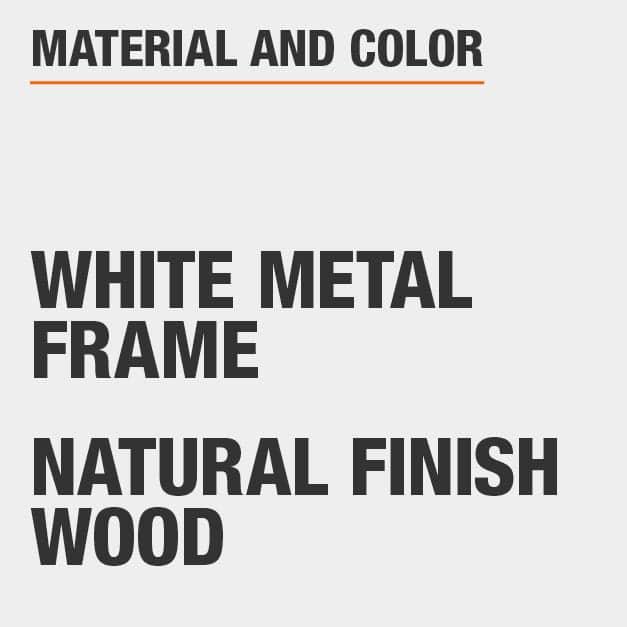 Natural Finish Wood White Metal Frame Writing Desk