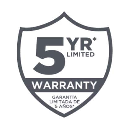 Backed by a 5-year limited warranty