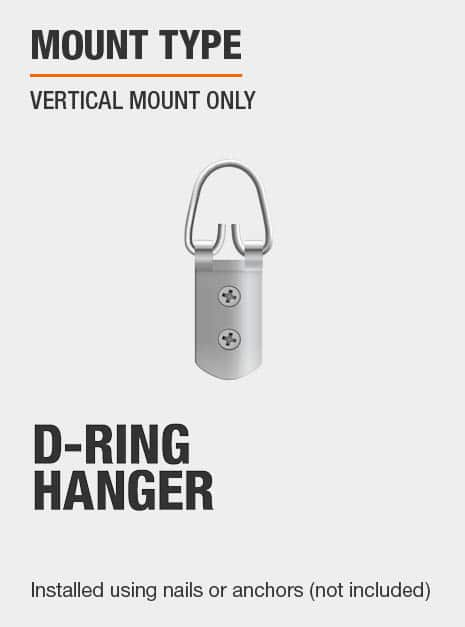 Mirror must be hung vertically and features D-ring mounts for easy hanging